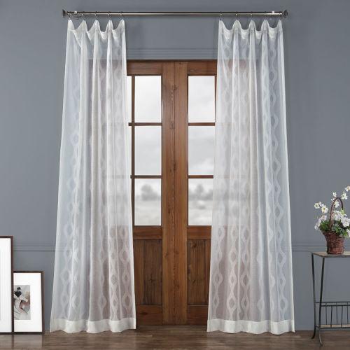 Vega White Polyester 108 In L x 50 In W Single Panel Curtain