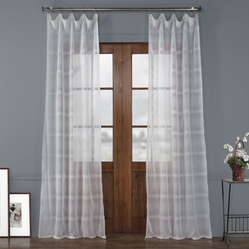 Polaris White Polyester 96 In L x 50 In W Single Panel Curtain