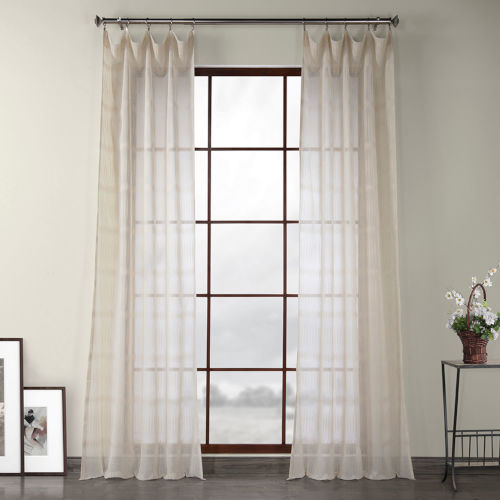 Polaris Beige Polyester 84 In L x 50 In W Single Panel Curtain