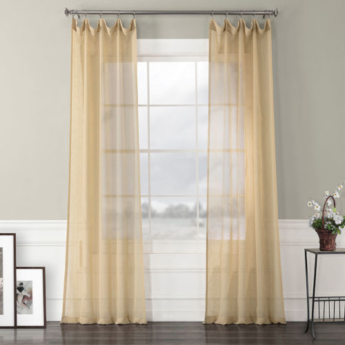 Solid Faux Linen Sheer Gold 50 x 84 In. Curtain Single Panel