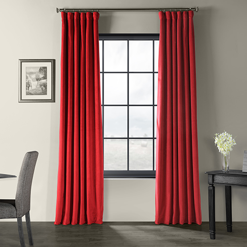 Signature Blackout Velvet Moroccan Red 50 x 96-Inch Curtain Single Panel