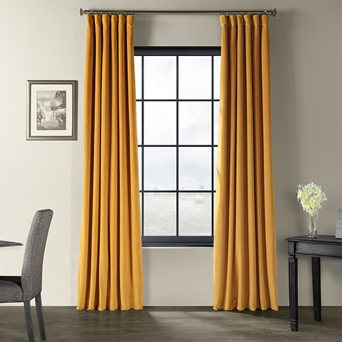 Signature Blackout Velvet Fools Gold 84 x 50-Inch Curtain Single Panel-SAMPLE SWATCH ONLY