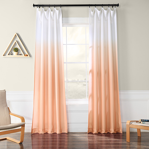 Ombre Faux Linen Semi Sheer Ombre Salmon-SAMPLE SWATCH ONLY