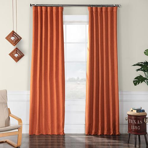 Faux Linen Blackout  Desert Orange 120 x 50-Inch Curtain Single Panel