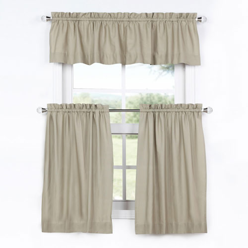 Sand 36 x 29 In. Solid Cotton Kitchen Tier Curtain and Valance Set