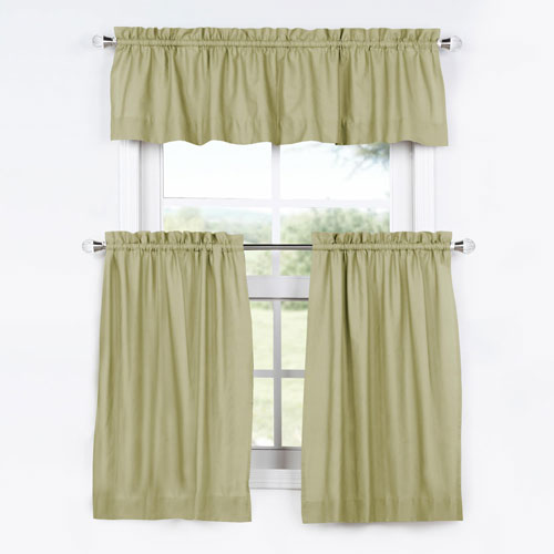 Lake Moss 36 x 29 In. Solid Cotton Kitchen Tier Curtain and Valance Set