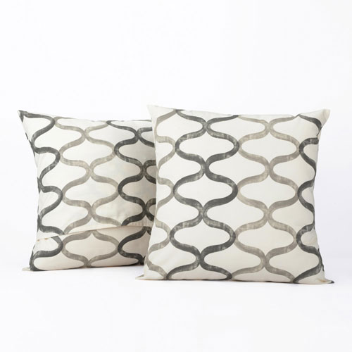 Illusions Silver Grey Printed Cotton Pillow Cover, Set of Two