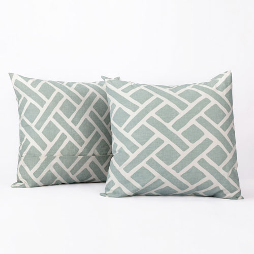 Weave Aqua Printed Cotton Pillow Cover, Set of Two