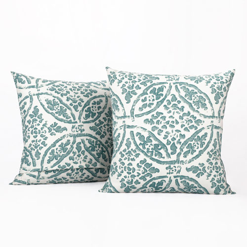 Medallion Aqua and White Printed Cotton Pillow Cover, Set of Two