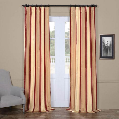 Burgundy and Beige 84 x 50 In. Faux Silk Taffeta Stripe Curtain