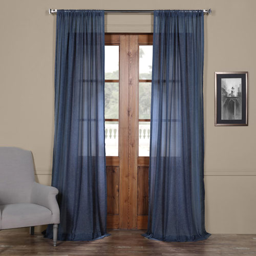 Rose Street Blue 108 x 50 In. Faux Linen Sheer Curtain Panel