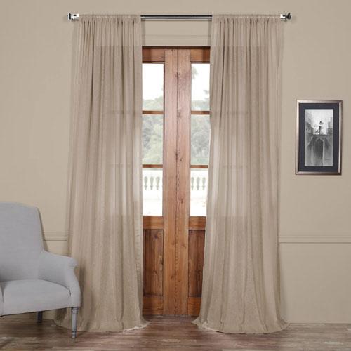 Vintage Beige 96 x 50 In. Faux Linen Sheer Curtain Panel
