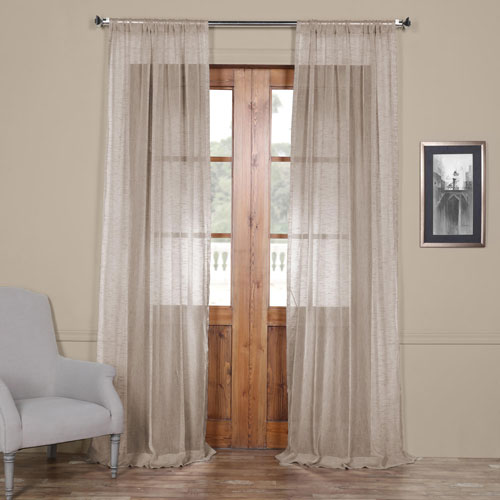 Rose Street Open Weave Grey 84 x 50 In. Linen Sheer Curtain