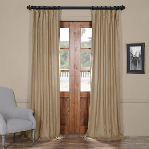 Rose Street French Beige 120 x 50 In. Linen Curtain Panel