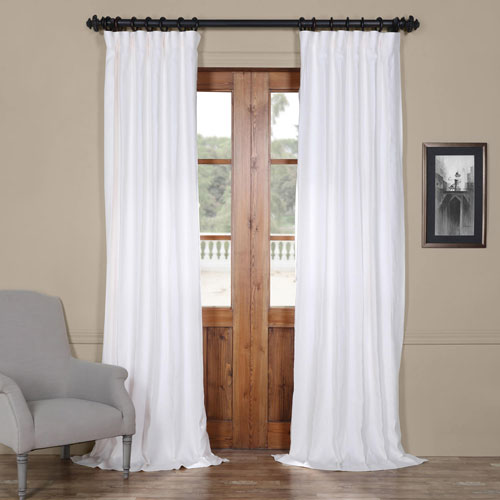 Rose Street Crisp White 120 x 50 In. Linen Curtain Panel