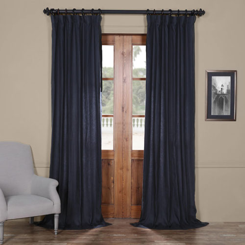 French Navy 84 x 50 In. Linen Curtain Panel
