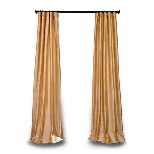 Gold 120 x 50 In. Textured Dupioni Silk Single Panel Curtain