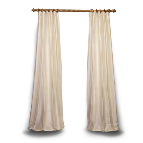 Rose Street Pearl 108 x 50 In. Textured Dupioni Silk Single Panel Curtain