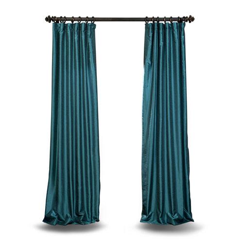 Teal 96 x 50 In. Faux Dupioni Silk Single Panel Curtain