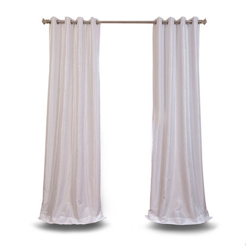 Rose Street White 96 x 50 In. Vintage Textured Grommet Blackout Curtain Single Panel