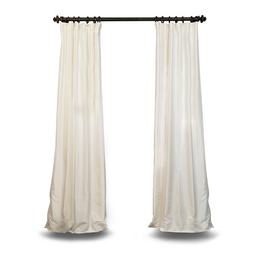 Off White Vintage Textured 108 x 50 In. Faux Dupioni Silk Single Panel Curtain
