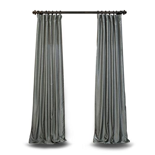 Grey 84 x 50 In. Textured Faux Dupioni Silk Single Panel Curtain