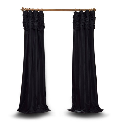 Ruched Jet Black 96 x 50 In. Faux Silk Taffeta Curtain Single Panel