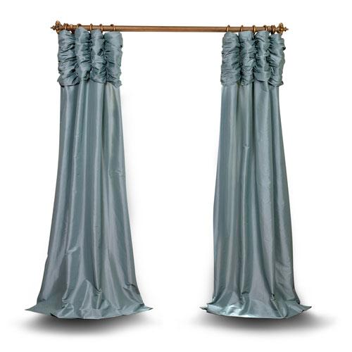 Ruched Light Blue 96 x 50 In. Faux Silk Taffeta Curtain Single Panel