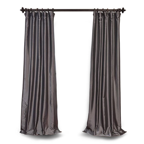 Graphite 108 x 50 In. Blackout Faux Silk Taffeta Curtain Single Panel