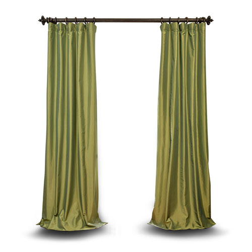 Green 120 x 50 In. Faux Silk Taffeta Single Panel Curtain