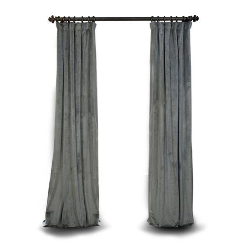 Rose Street Natural Grey 96 x 50 In. Blackout Velvet Pole Pocket Single Panel Curtain
