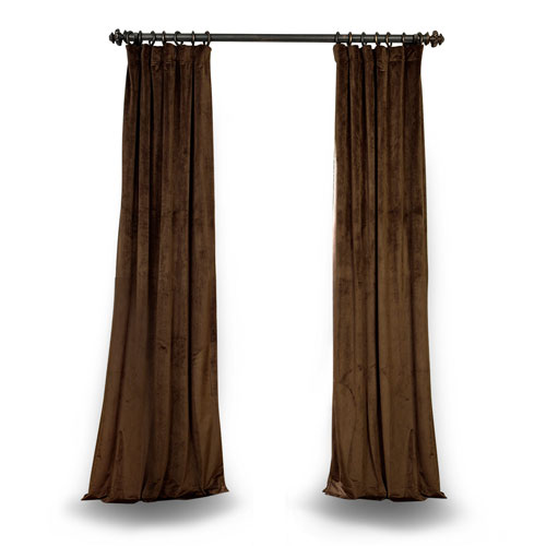 Rose Street Java 108 x 50 In. Blackout Velvet Pole Pocket Single Panel Curtain