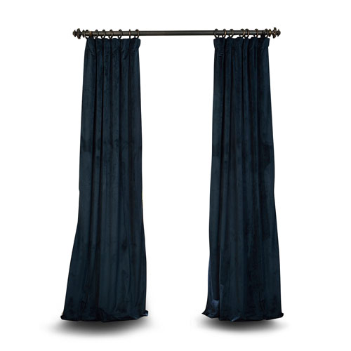 Rose Street Blue 108 x 50 In. Blackout Velvet Pole Pocket Single Panel Curtain