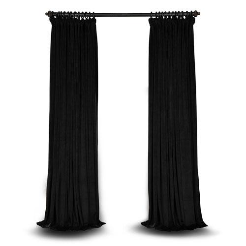 Black Double Wide 108 x 100 In. Velvet Blackout Pole Pocket Single Panel Curtain