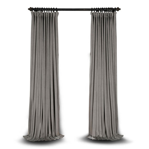 Rose Street Silver Grey Double Wide 120 x 100 In. Velvet Blackout Pole Pocket Single Panel Curtain