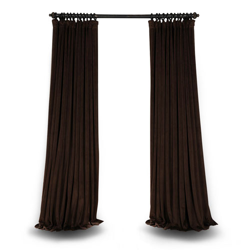 Java Double Wide 84 x 100 In. Velvet Blackout Pole Pocket Single Panel Curtain