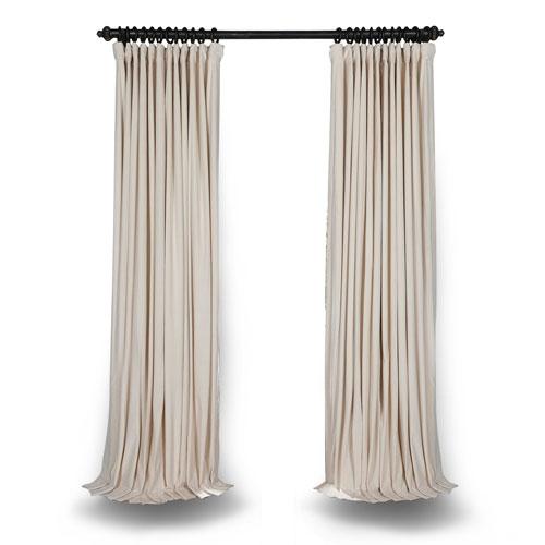 Ivory Double Wide 120 x 100 In. Velvet Blackout Pole Pocket Single Panel Curtain
