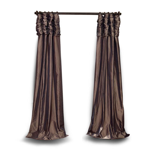 Ruched Mushroom 84 x 50 In. Faux Silk Taffeta Curtain Single Panel