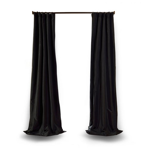 Jet Black 108 x 50 In. Faux Silk Taffeta Single Curtain Panel