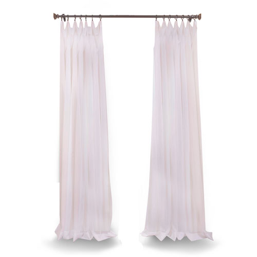 Rose Street Doublewide Solid White 100 x 120 In. Sheer Curtain