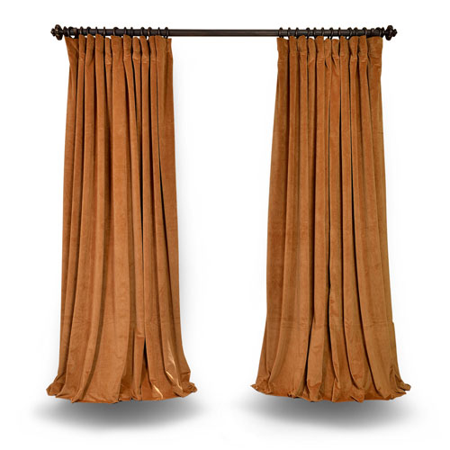 Gold Double Wide 100 x 108 In. Velvet Blackout Single Curtain Panel