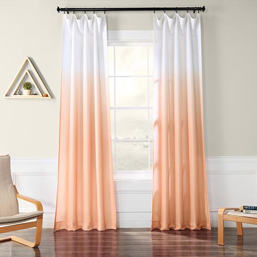 Ombre Faux Linen Semi Sheer Ombre Salmon 120 x 50-Inch Curtain Single Panel