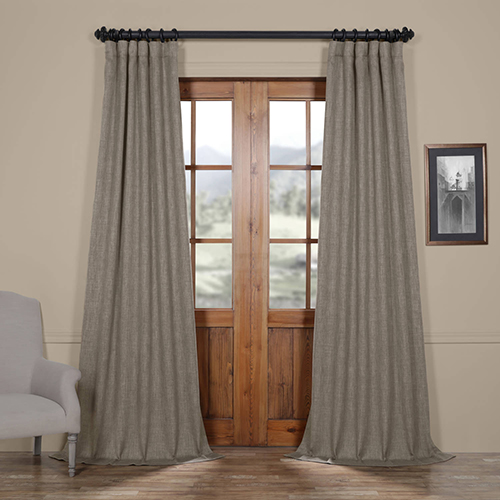 Grey Mink 120 x 50-Inch Faux Linen Blackout Curtain Panel Pair