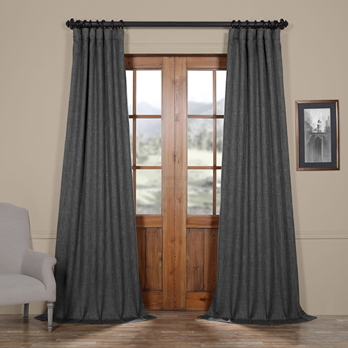 Dark Gravel Green 120 x 50-Inch Faux Linen Blackout Curtain Panel Pair