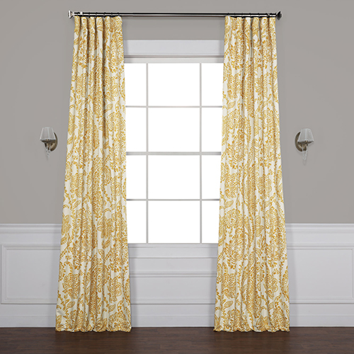 Tea Time Yellow Gold 108 x 50-Inch Blackout Curtain Single Panel