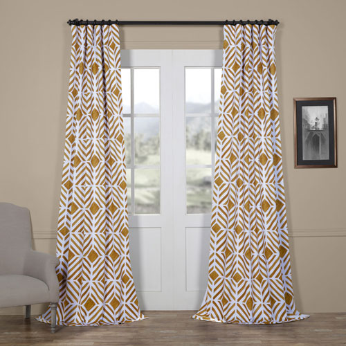 Geometric Gold 84 x 50 In. Blackout Curtain Single Panel