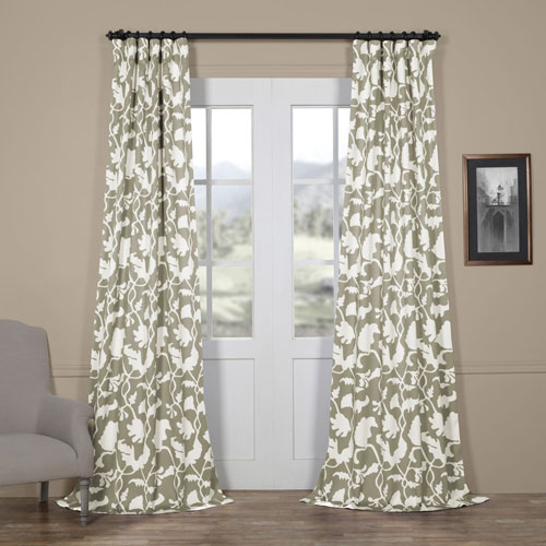 Sweet Pea Grey 96 x 50 In. Blackout Curtain Single Panel