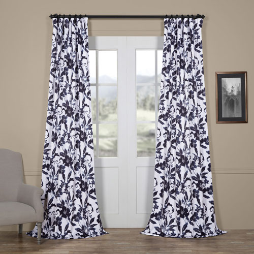 Hibiscus Blue 96 x 50 In. Blackout Curtain Single Panel