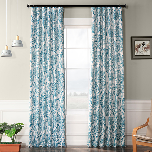 Blackout Rod Pocket Tea Time Teal 50 x 120-Inch Curtain Single Panel