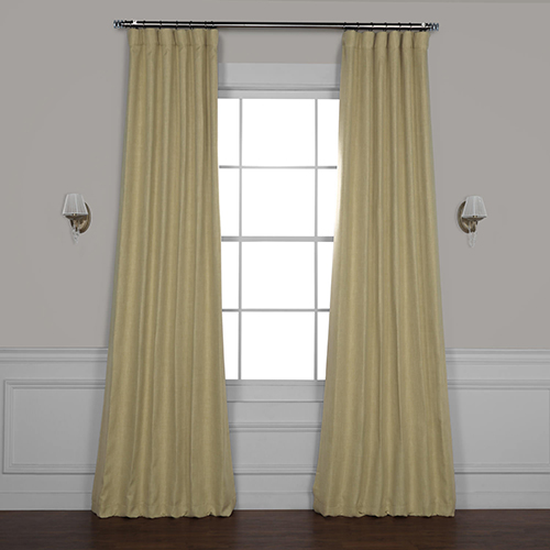 Beige Oatmeal 120 x 50-Inch Faux Linen Blackout Curtain Panel Pair